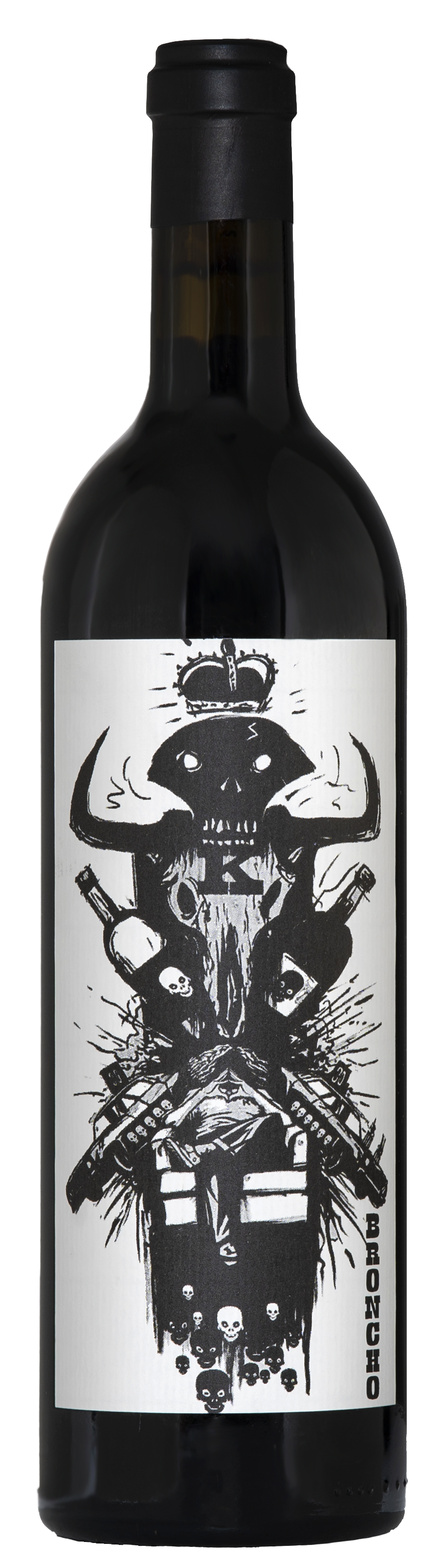 A black bottle of malbec wine. Black capsule on top with a tall white label with black ink showing incredible art.