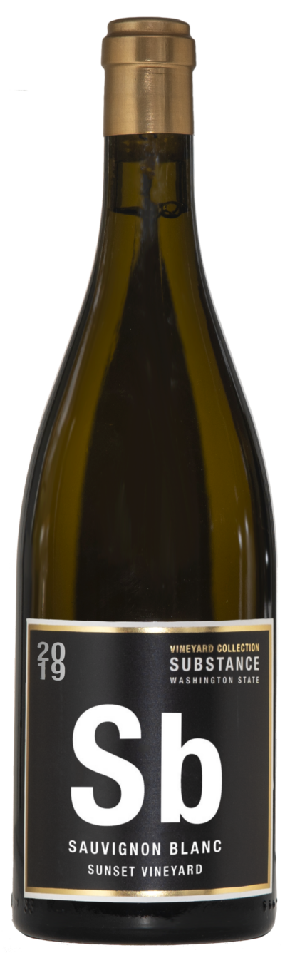 A classy golden bottle of wine with white wine inside. A golden capsule on top with a black label with white and gold text.