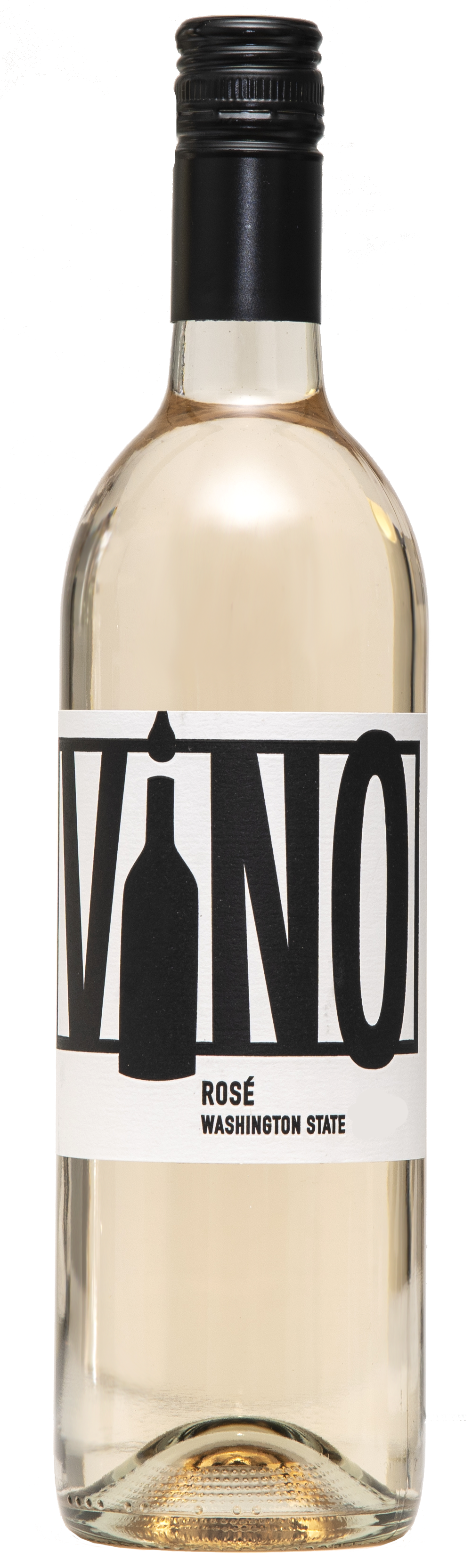 A clear wine bottle with black screw top and filled with delicately faint pink rosé wine. The label is white with black text, reading ViNO Rosé, Washington State.