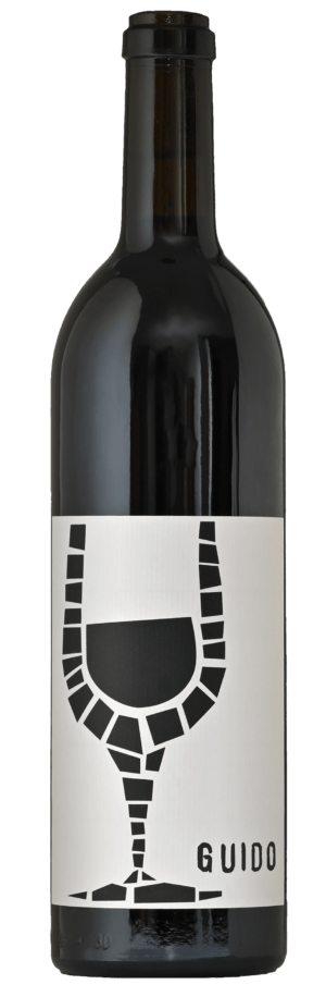 A dark bottle of wine with the white Guido label and white capsule on top.