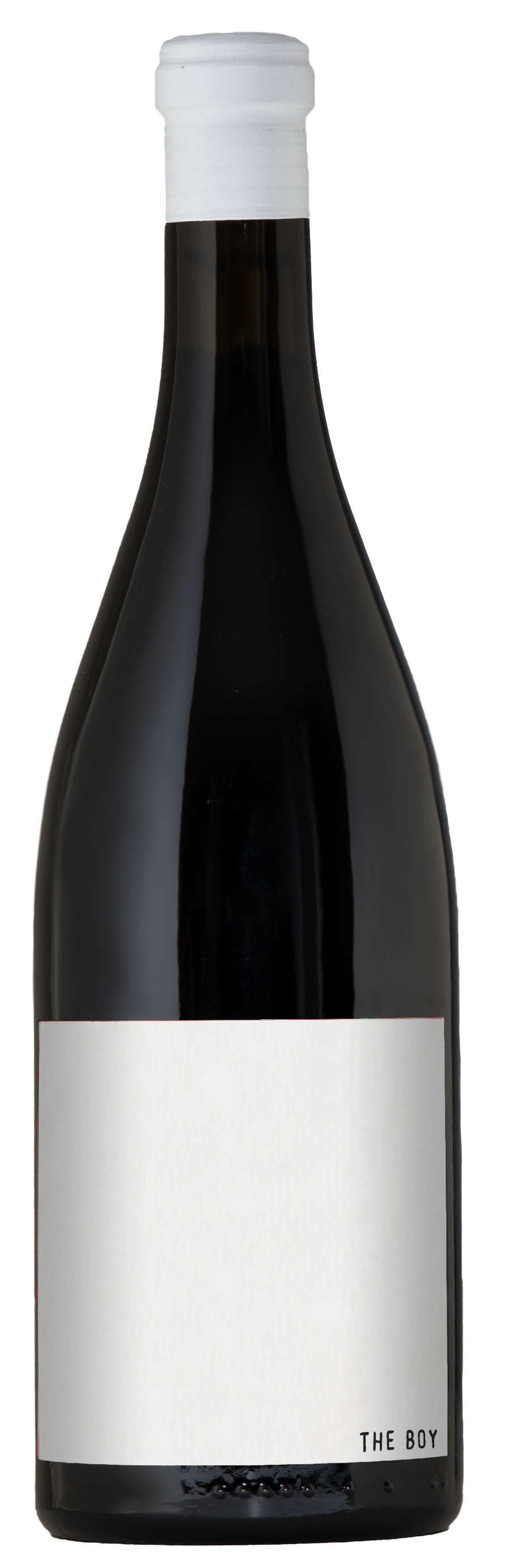 A dark bottle of wine with the simple white The Boy Syrah label and white capsule on top.
