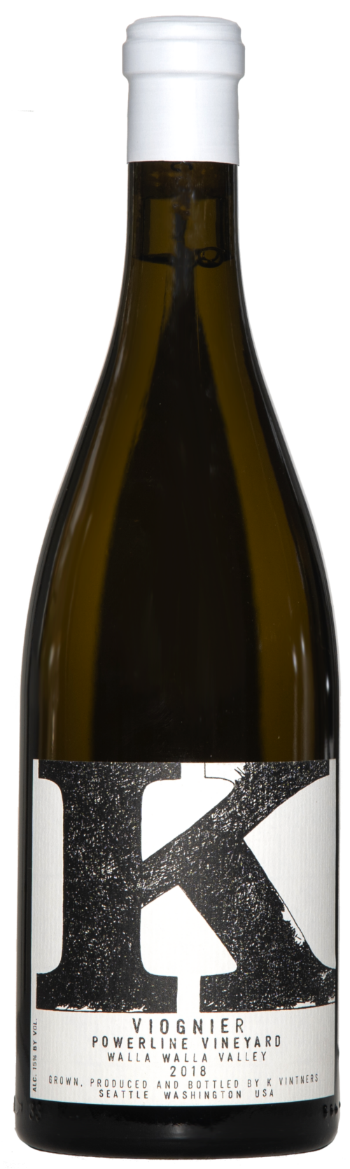 A brown bottle of wine with white wine inside. A white capsule and white label with black text and large K on it.