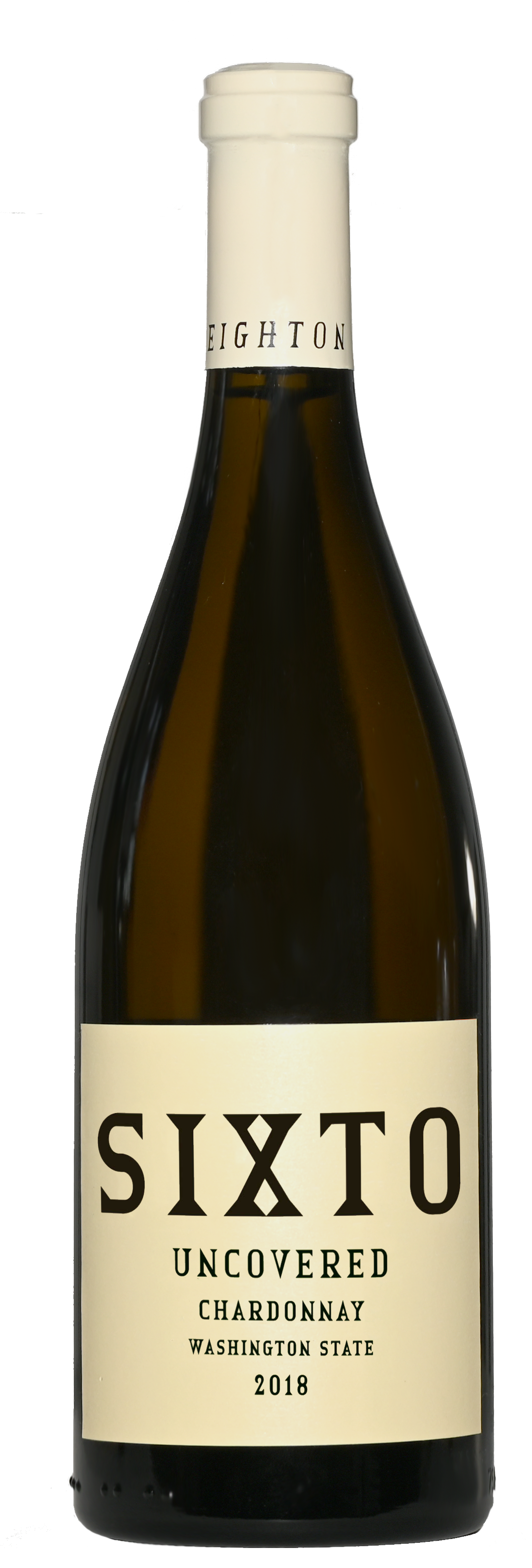 A classy brown bottle of wine with white wine inside. A beige capsule on top and beige label with black text on front.