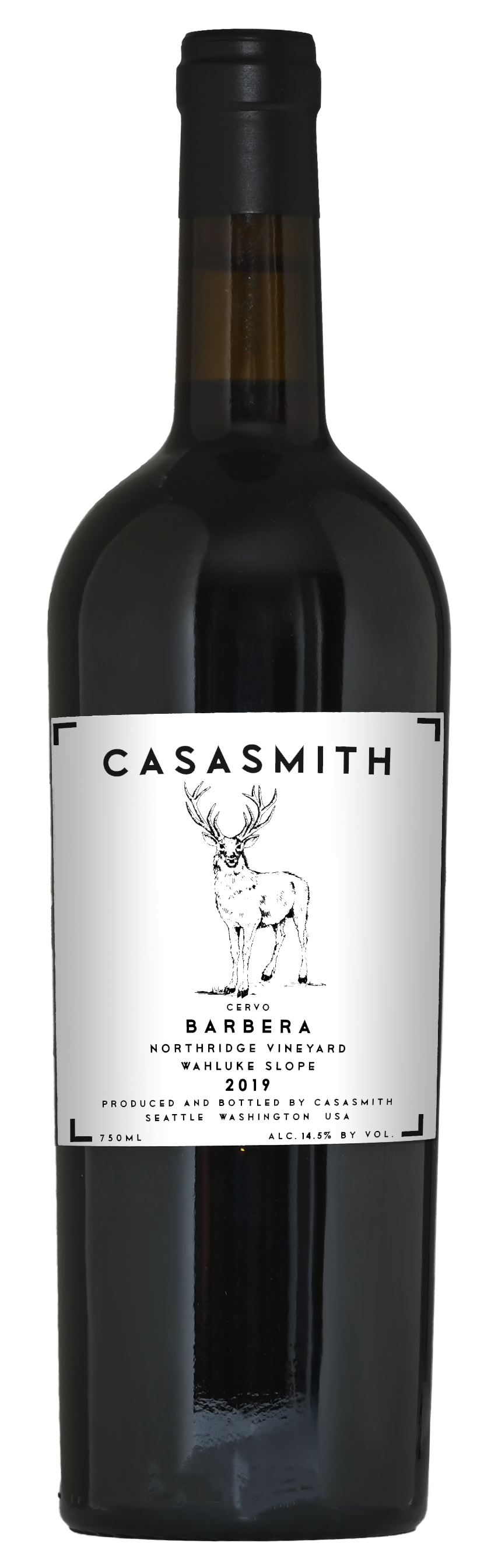 A tall dark Italian style bottle of wine. Black capsule on top and white label with black text that reads: CasaSmith Cervo Barbera, Wahluke Slope.