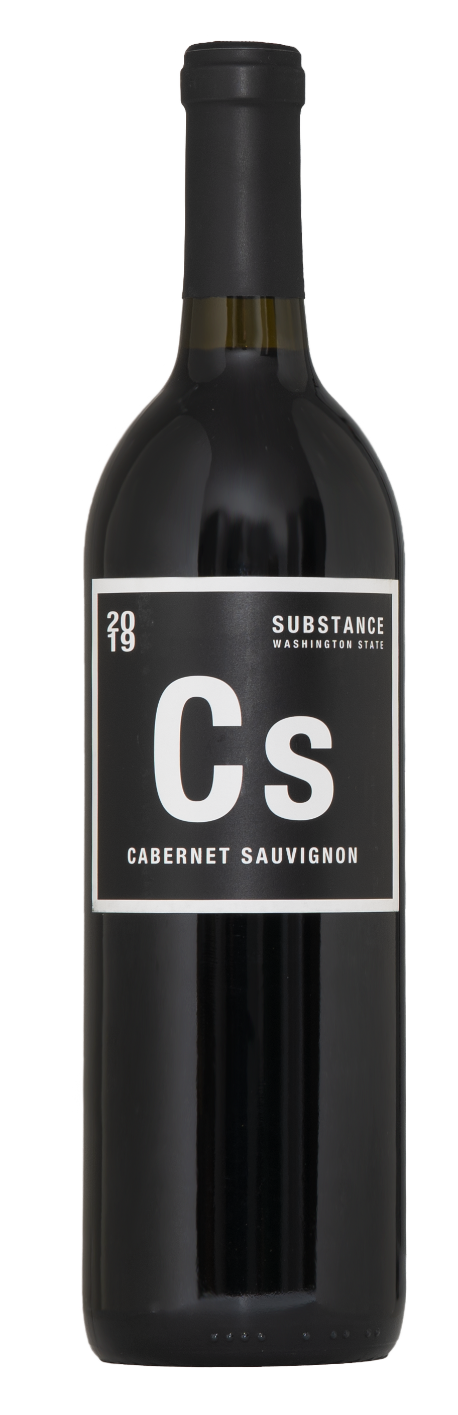 The lovely-classy Substance Cab Sauv bottle. It's black with dark red wine inside. A black capsule on top and black/white label.