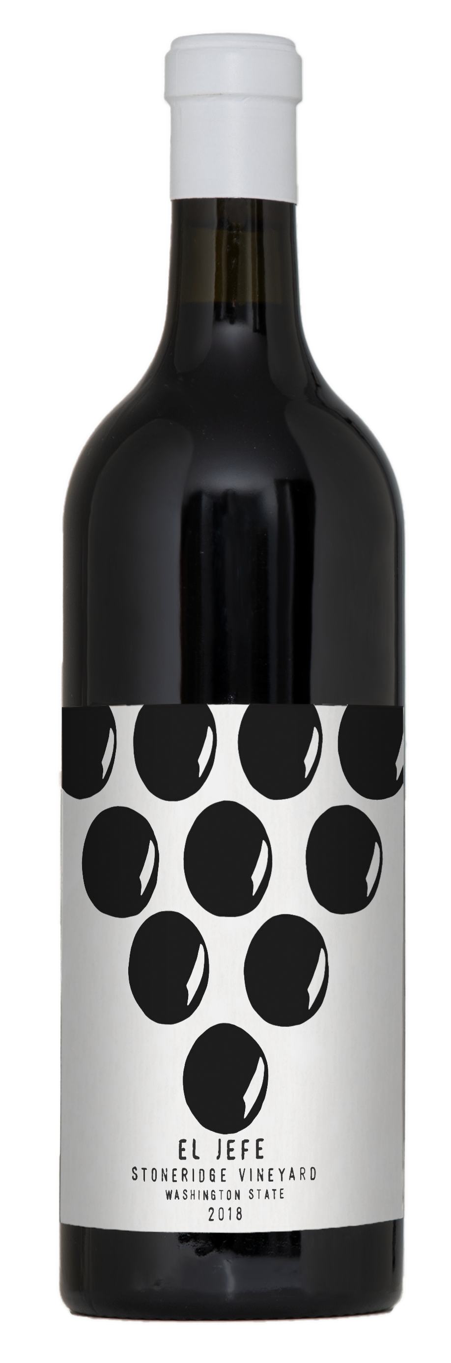 A A beautiful black bottle of wine with white capsule and white label with black text.