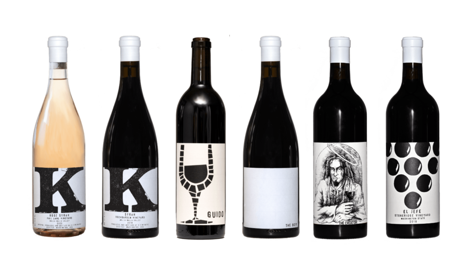 Lineup of 6 beautiful bottles of wine from K Vintners.